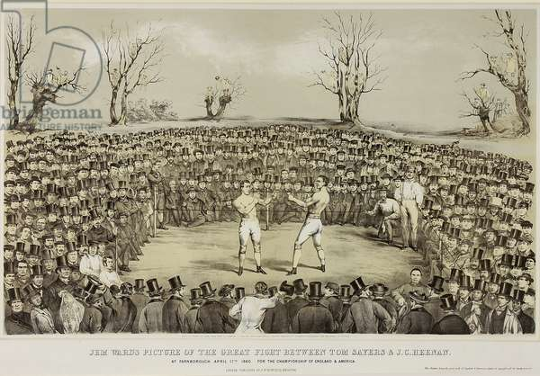 The Great Fight Between Tom Sayers and J.C. Heenen at Farnborough, 17th April 1860, engraved by Wolmoth & Lopez (litho)
