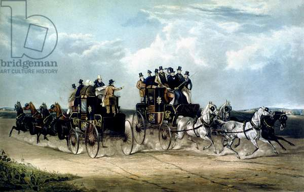 The Brighton Day Mails passing over Hockward Common, engraved by Charles Hunt, 1838 (colour litho)