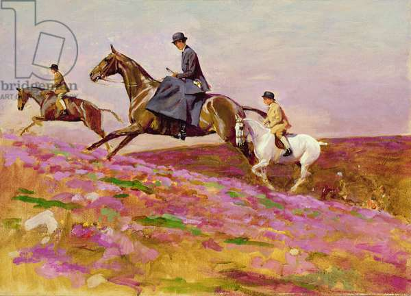 Lady Currie with her sons Bill and Hamish Hunting on Exmoor (oil on canvas)