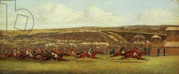 The Finish of the Derby (oil on canvas)
