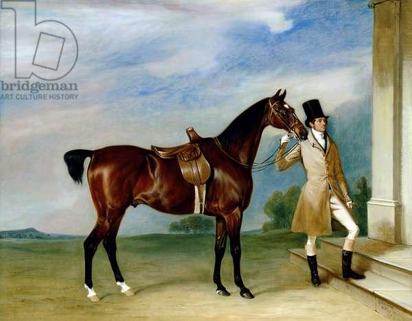 Miss Villebois' Bay Hunter held by a Groom, 1834 (oil on canvas)