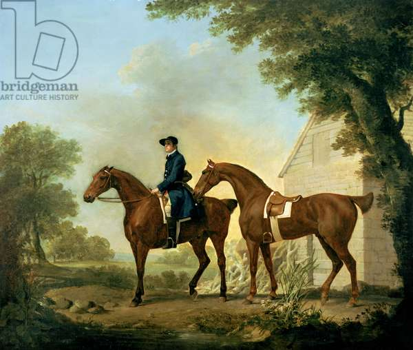 Mr. Crewe's Hunters with a Groom near a Wooden Barn (oil on canvas)