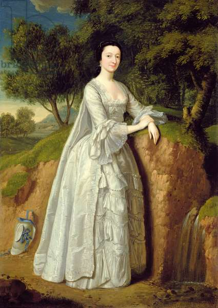 Elizabeth Montague standing in a Wooded Landscape, c.1750 (oil on canvas)