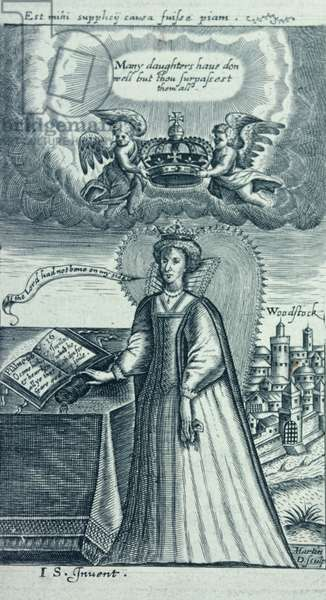 Queen Elizabeth I with her hand on the bible (engraving)
