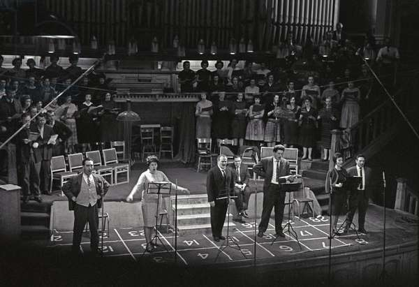 EMI Recording session for the opera Fidelio, Kingsway Hall, London, 1962 (b/w photo)