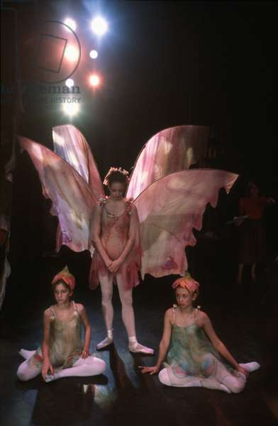 Three young ballerinas, during a performance of Prokofiev's 'Cinderella', Chicago City Ballet (photo)