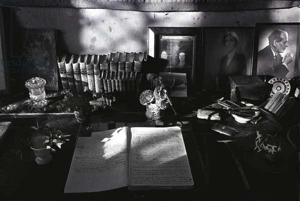 The desk of Victoria Sackville-West in the Elizabethan Tower, Sissinghurst Castle, 1967 (b/w photo)