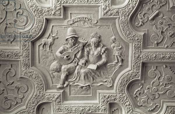 Detail of musician playing the lute on the gallery ceiling of Blickling Hall, 1616-28 (plaster)