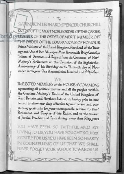 Illuminated book presented by members of the House of Commons to Winston Churchill on his 80th birthday, 30 Nov. 1954 (b/w photo)