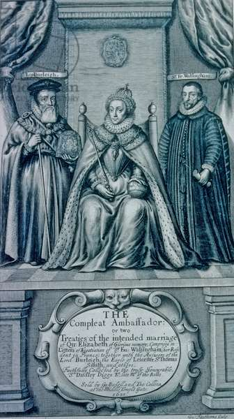 Queen Elizabeth I with Lord Burleigh and Francis Walsingham, 1655 (engraving)