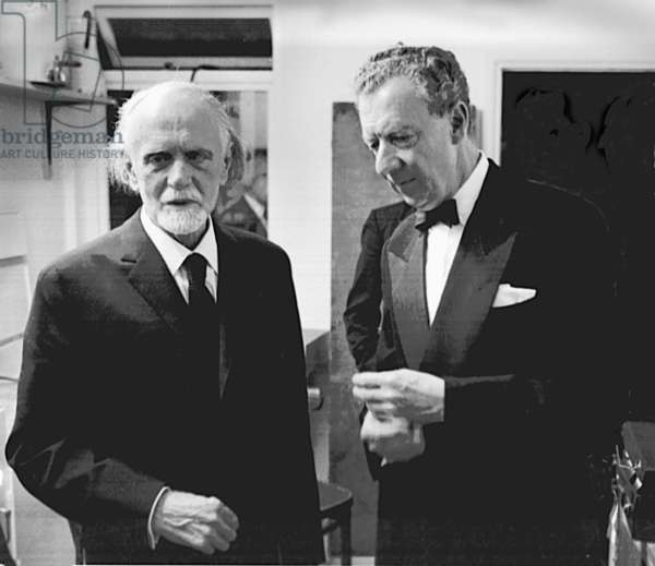 Zoltán Kodály and Benjamin Britten at the Aldeburgh Festival, 1965 (b/w photo)