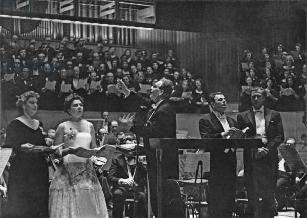 Otto Klemperer conducting Beethoven's 9th Symphony at the Royal Festival Hall, London, 15th November, 1957 (b/w photo)