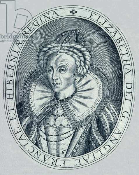 Queen Elizabeth I in middle age with furrowed brow (engraving)