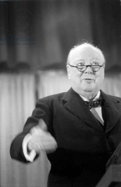 Sir Winston Churchill's speech in Woodford, Essex, March, 1955 (b/w photo)