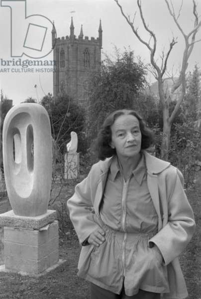 Barbara Hepworth in the garden of her St Ives home, Cornwall, 1958 (b/w photo)