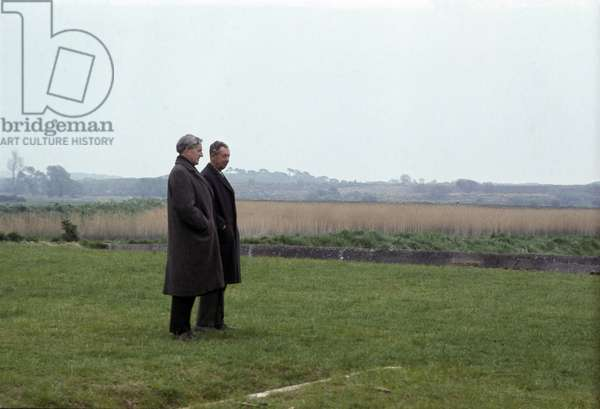 Peter Pears and Benjamin Britten on an inspection tour at the Maltings Concert Hall, Snape, Suffolk, 1967 (photo)
