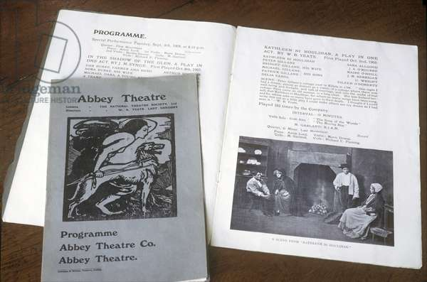 Programme for Abbey Theatre, dated 8th Ceptember 1908, the time when W.B. Yeats and Lady Gregory were directors of the theatre (photo)