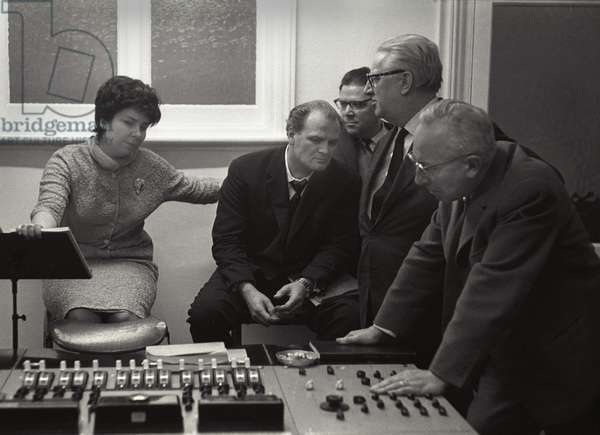 Listening to playback of the recording of Beethoven's Fidelio, Kingsway Hall, London, 1962 (b/w photo)