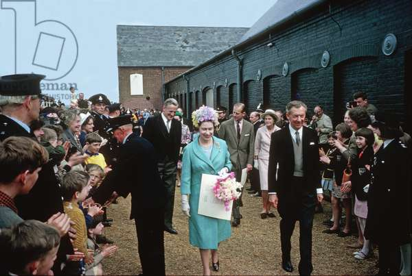 HM Queen Elizabeth II with Benjamin Britten on the occasion of the opening of the Snape Maltings Concert Hall, Aldeburgh, Suffolk, June 2, 1967 (photo)