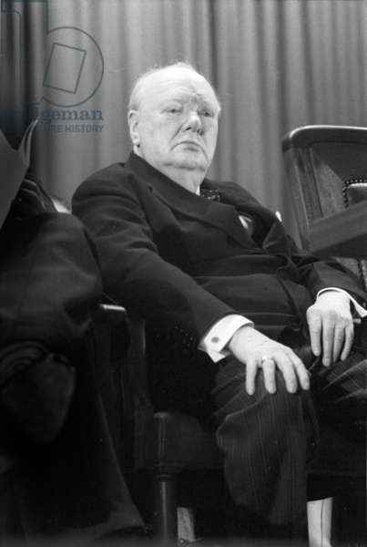 Sir Winston Churchill before making a speech, Woodford, Essex, March 1955 (b/w photo)