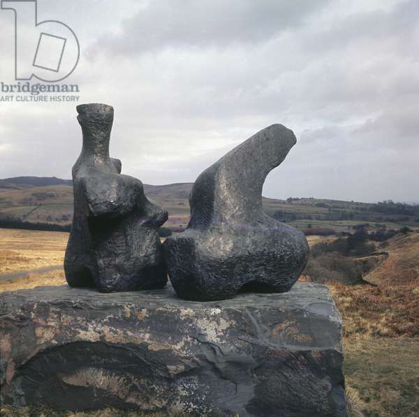 'Two Piece Reclining Figure', by Henry Moore, Glenkiln Sculptures Walk, near Shawcross, Scotland (photo)