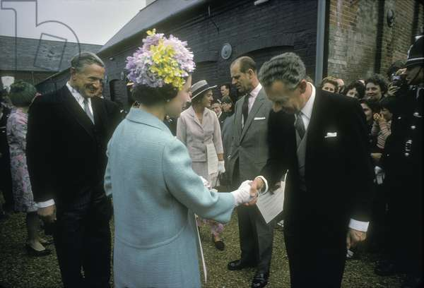 Benjamin Britten shakes hands with HM Queen Elizabeth II on the occasion of the opening of the Snape Maltings Concert Hall, Aldeburgh, Suffolk, June 2, 1967 (photo)