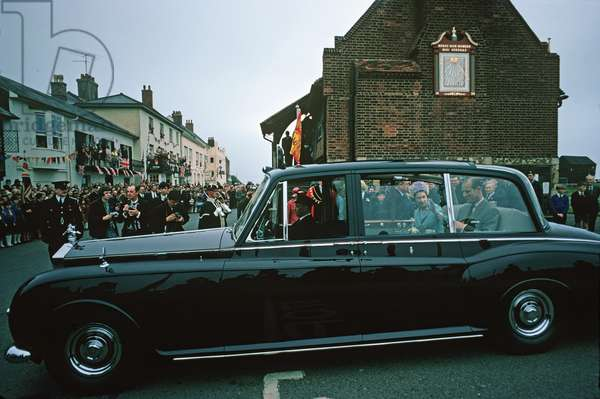 HM Queen Elizabeth II and Prince Philip arrive in their Rolls Royce at the Moot Hall in Aldeburgh on the occasion of the opening of the new Maltings Concert Hall in Snape, June 2, 1967 (photo)