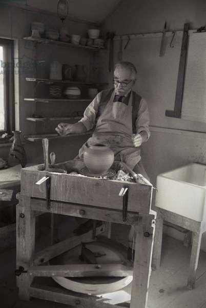 Bernard Leach in St. Ives, Cornwall, 1959 (b/w photo)