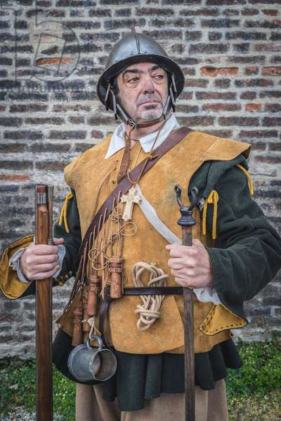 17th century, North Italy: country militia. Reconstructive hypothesis civil and military uses and customs. Portrait of archibugere, Verrua Savoia, Turin, Piedmont, Italy (photo)