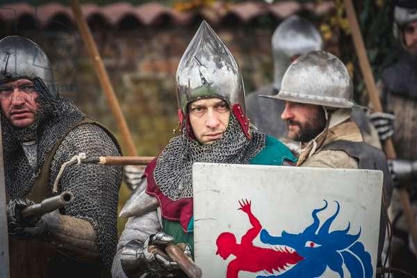 Second half of the 14th century: Viscontea Infantry on the battlefield, Marimondo, Milan, Italy (photo)
