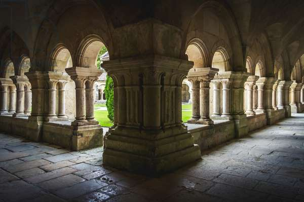 Cloister of Fontenay Abbey, Burgundy, France (photo)