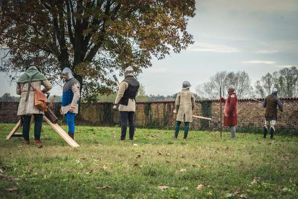 Second half of the 14th century: Training in the use of firearms, Marimondo, Milan, Italy (photo)