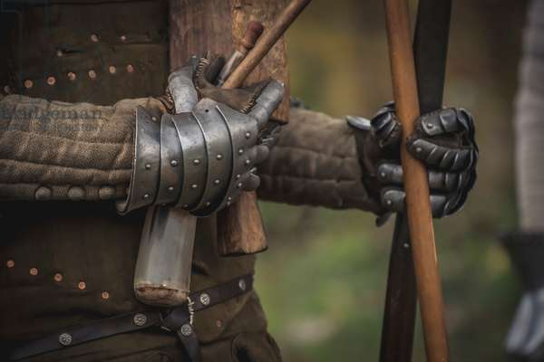 Second half XIV century: Detail of armor, Marimondo, Milan, Italy (photo)