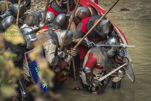 A.D. 1387, Knights protect themselves with shields from the launch of arrows, Terra del Sole, Forlì-Cesena, Emilia Romagna, Italy (photo)