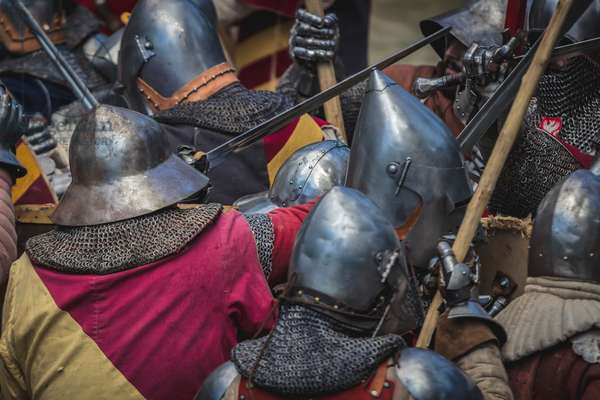 A.D. 1387, Clash of the white weapon between the fanteries of the opposing armies, Terra del Sole, Forlì-Cesena, Emilia Romagna, Italy (photo)