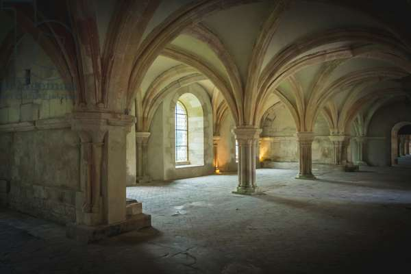 Chapter Hall of Fontenay Abbey, Burgundy, France (photo)
