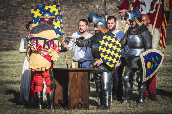 A.D. 1387, The captains of the two sides, seek an agreement to avoid the battle, Terra del Sole, Forlì-Cesena, Emilia Romagna, Italy (photo)