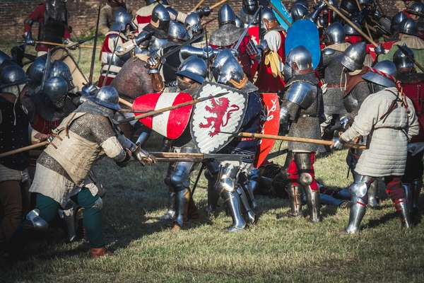 A.D. 1387, Battlefield: the armies of the two sides fight with swords and spears, Terra del Sole, Forlì-Cesena, Emilia Romagna, Italy (photo)