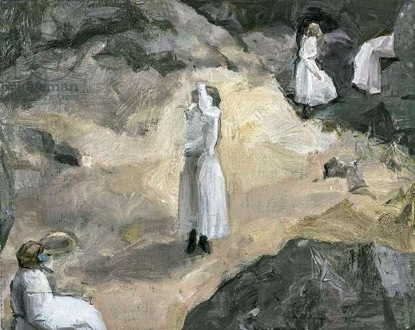 Figures in a Landscape, 2016 (oil on panel)