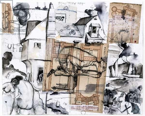 En Plein Air, 2015 (mixed media on paper)