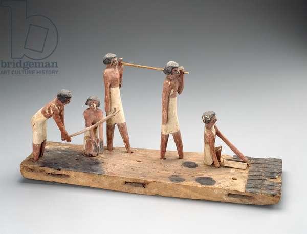 Model of men making bricks, Middle Kingdom, late Dynasty 11 –- early Dynasty 12, 2010-–1961 B.C. (wood)