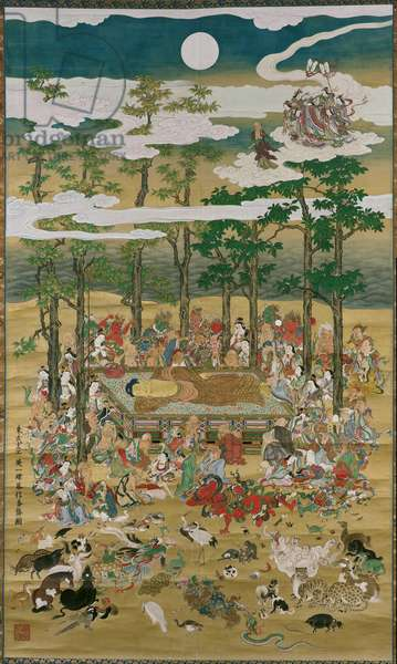 The Death of the Historical Buddha, c.1713 (ink, colour & gold on paper)