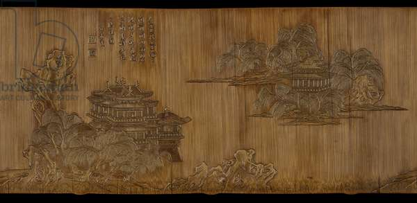 Brushpot with decoration of figures in landscape and inscribed poem, Ming Dynasty, early 17th century (bamboo)