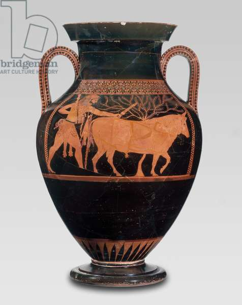 Two-handled jar with Herakles driving a bull to sacrifice, c.525-520 BC (ceramic)