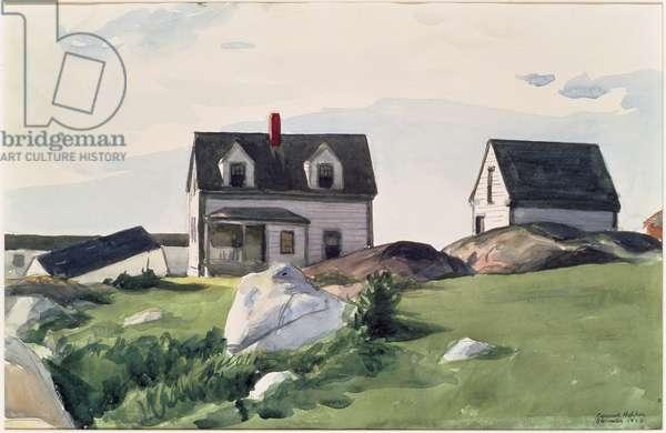 Houses of Squam Light, Gloucester, 1923 (w/c on paper)
