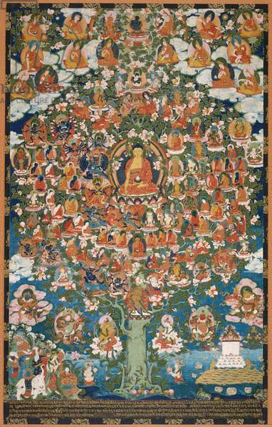 Tree of Divine Assembly, 1796 (opaque w/c & gold on cotton)
