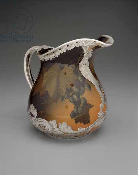 Pitcher, decorated by Constance Amelia Baker (fl.1892-1904), 1893 (earthenware, slip, glaze & silver deposit decoration)
