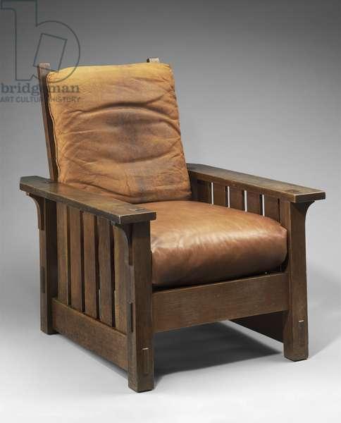 Adjustable-back chair, No. 2342, c.1901-05 (oak & leather)