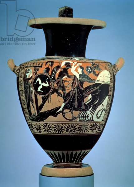 Achilles dragging the body of Hector behind a chariot, Attic black-figure hydria (water jug) Athens, Archaic Period, c.520-521 BC (pottery)
