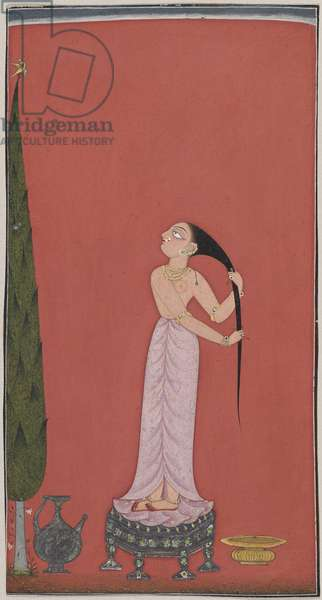 At Her Bath, possibly from Basohli, in the Punjab Hills, c.1690-1700 (opaque w/c, gold, silver & beetle wing on paper)